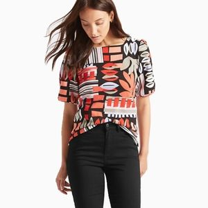 M&S COLLECTION   ABSTRACT PRINT PUFF SLEEVE TEE